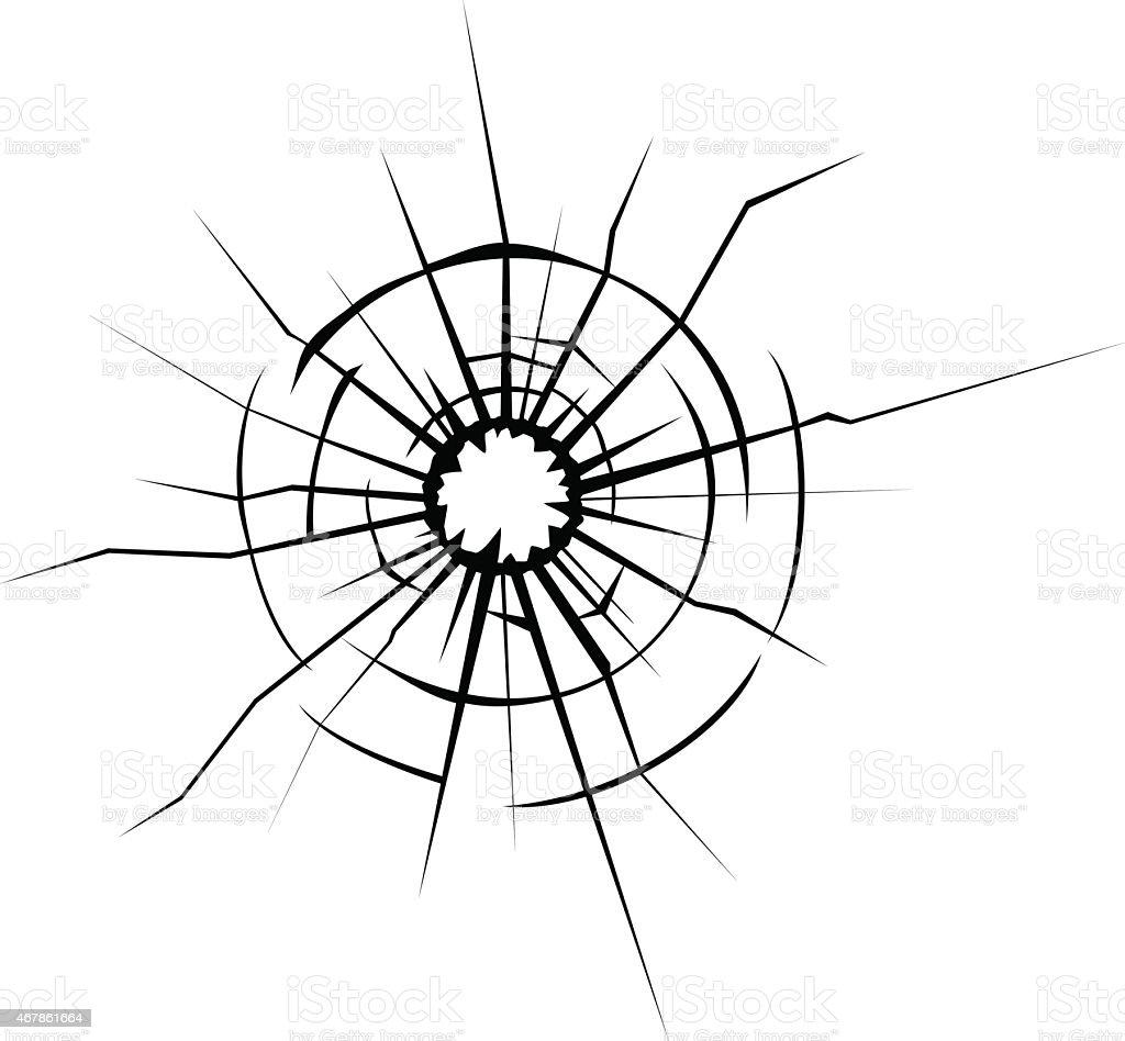Broken glass cracks vector art illustration