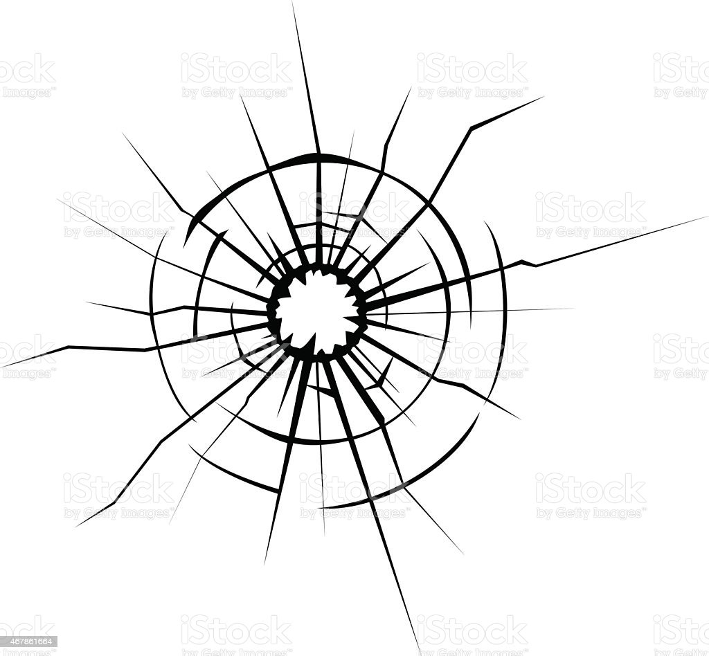Broken glass cracks vector art illustration