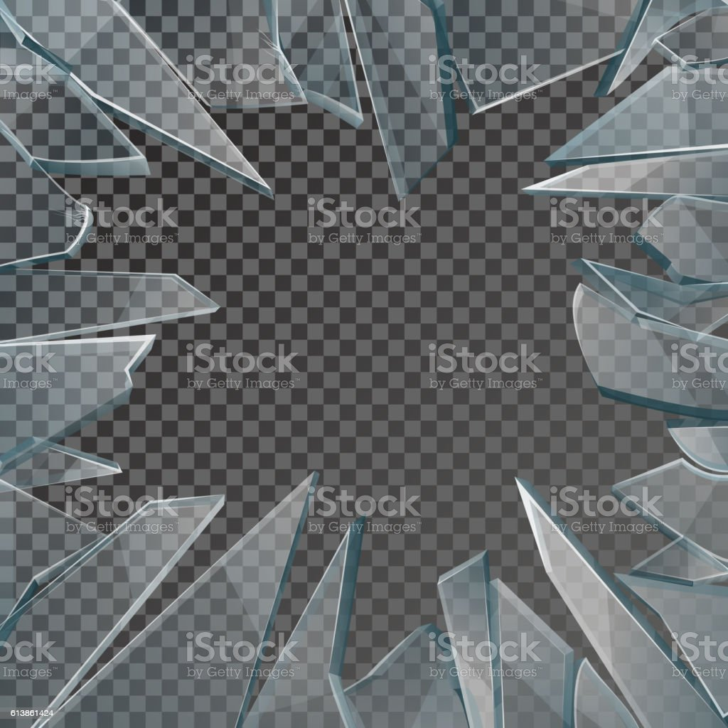 Broken glass window frame vector vector art illustration
