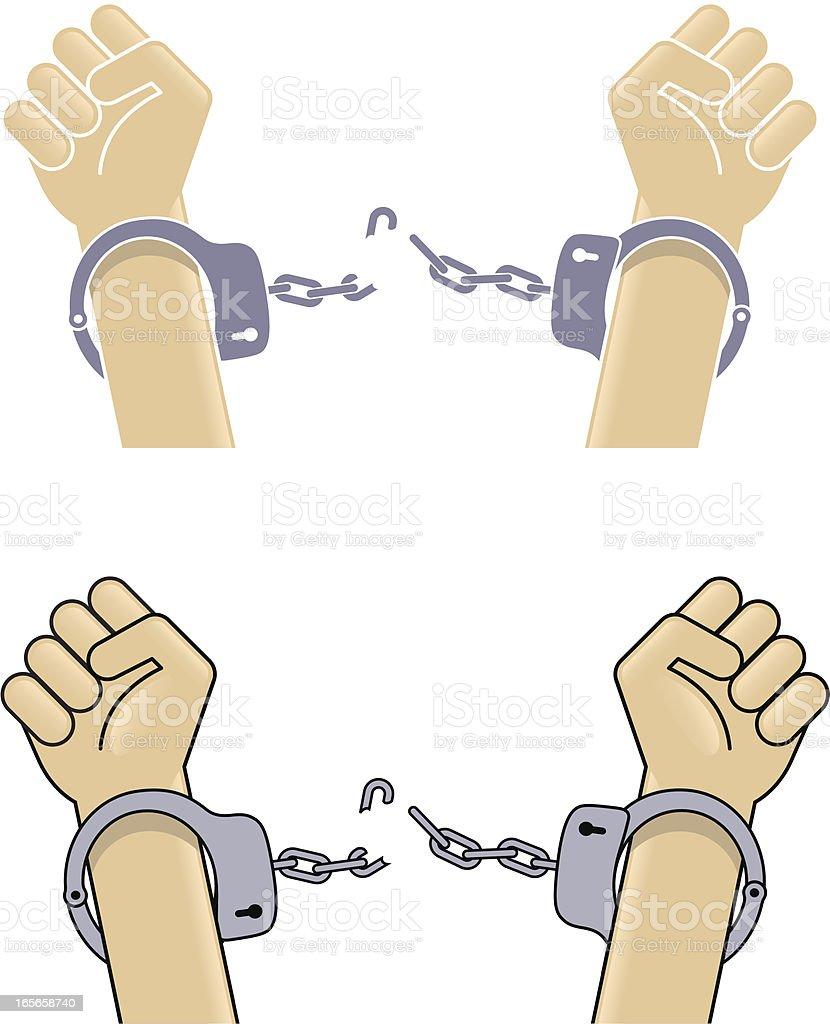 Broken handcuffs royalty-free stock vector art