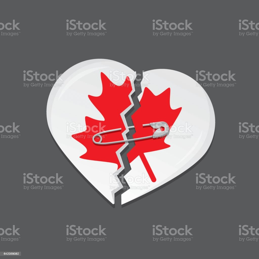 Broken heart as Canadian flag with safety pin vector art illustration