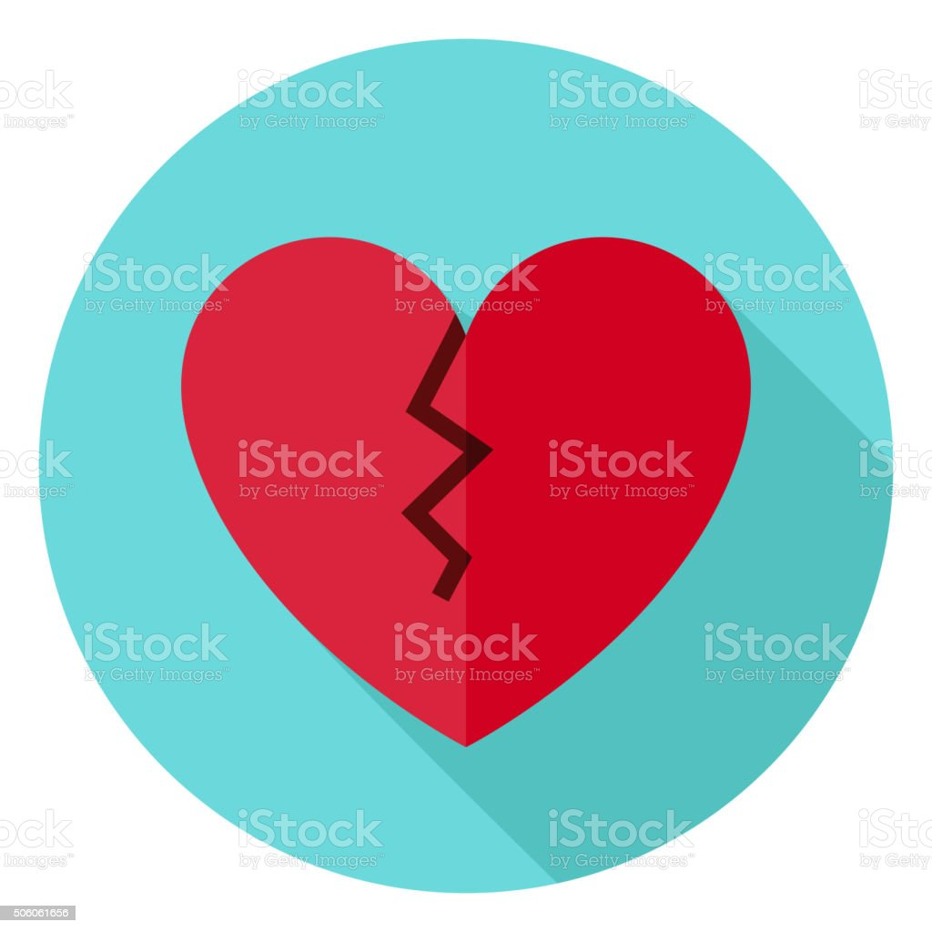 Broken Heart Circle Icon with long Shadow vector art illustration