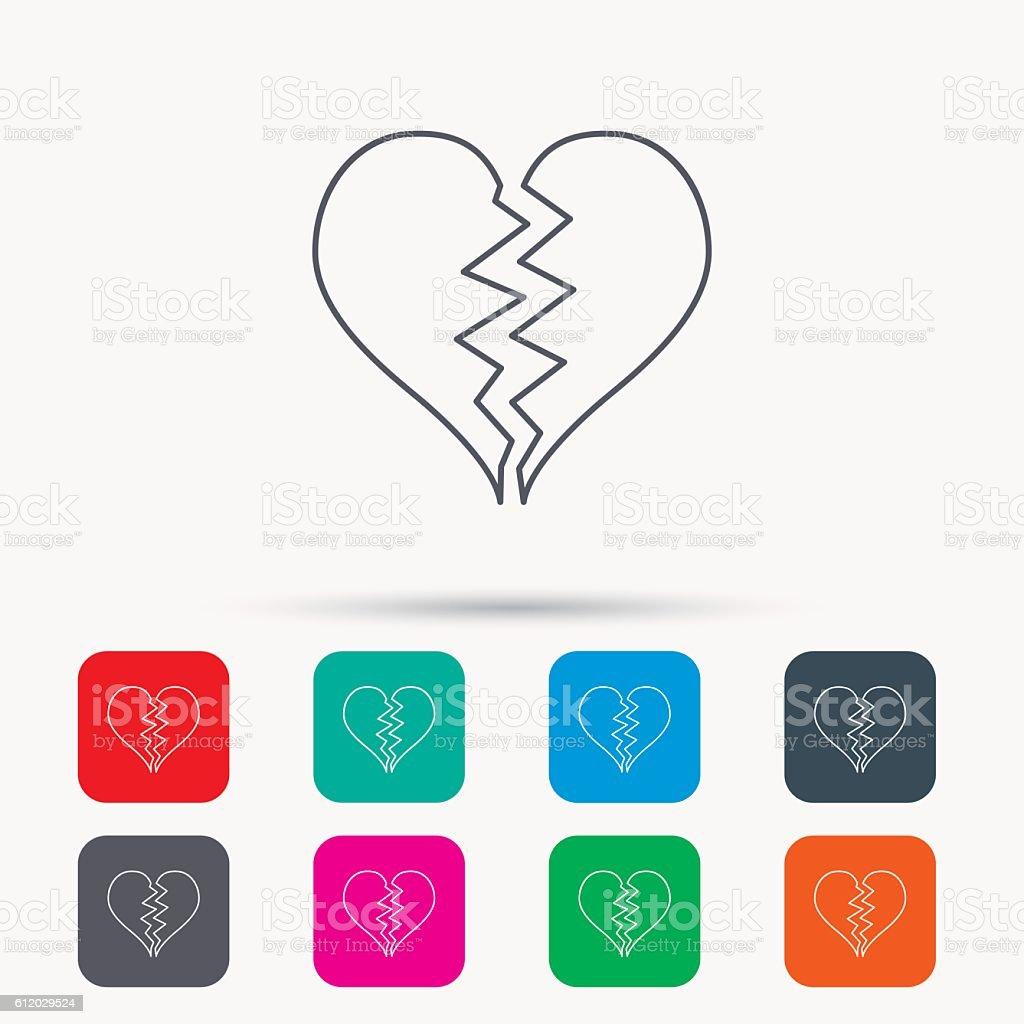Broken heart icon. Divorce sign. vector art illustration