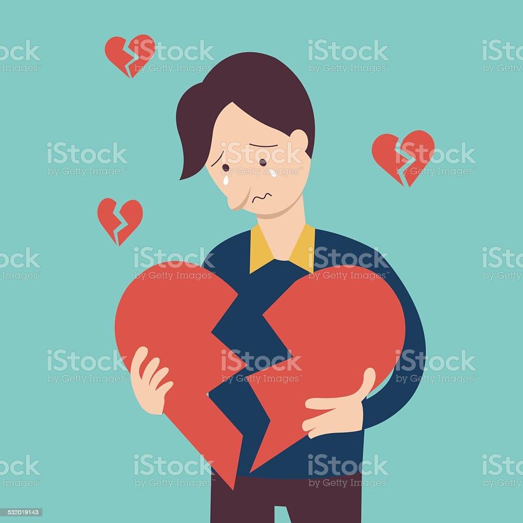 Broken heart man vector art illustration