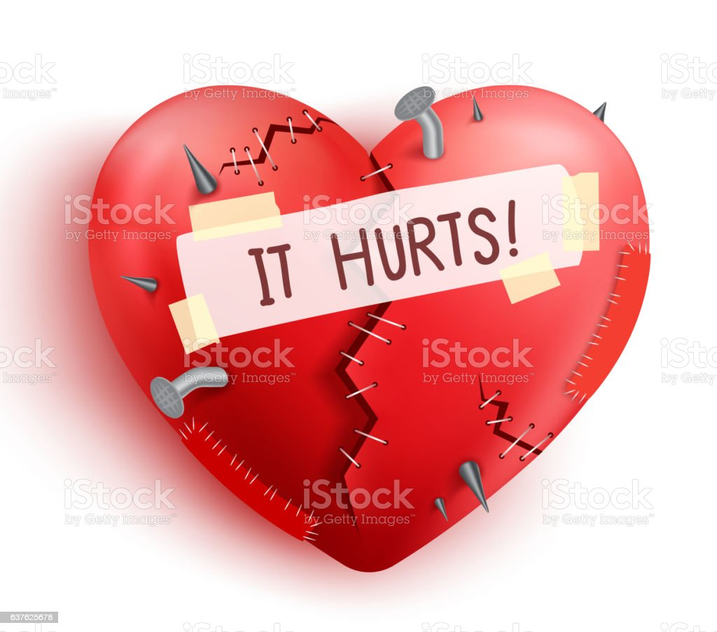 Broken heart wounded in red color with stitches and patche vector art illustration