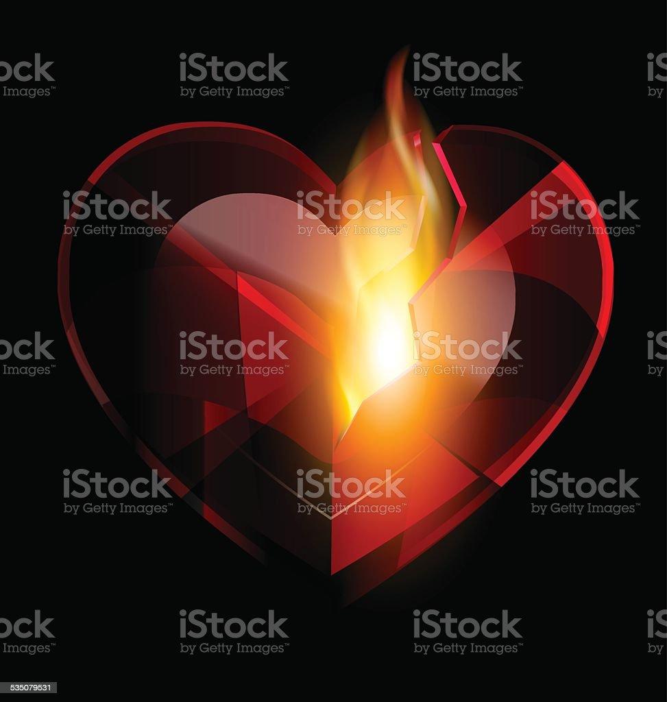 broken heart-crystal and flame vector art illustration