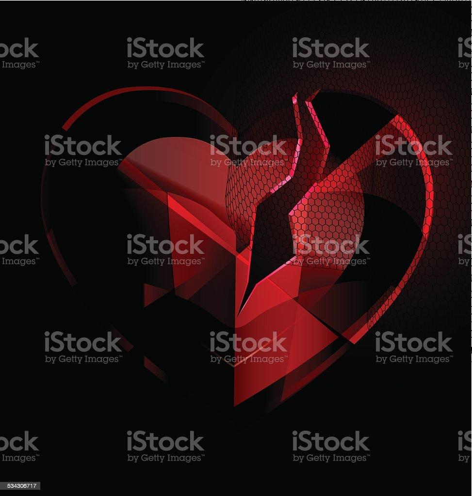 broken heart-crystal with black veil vector art illustration