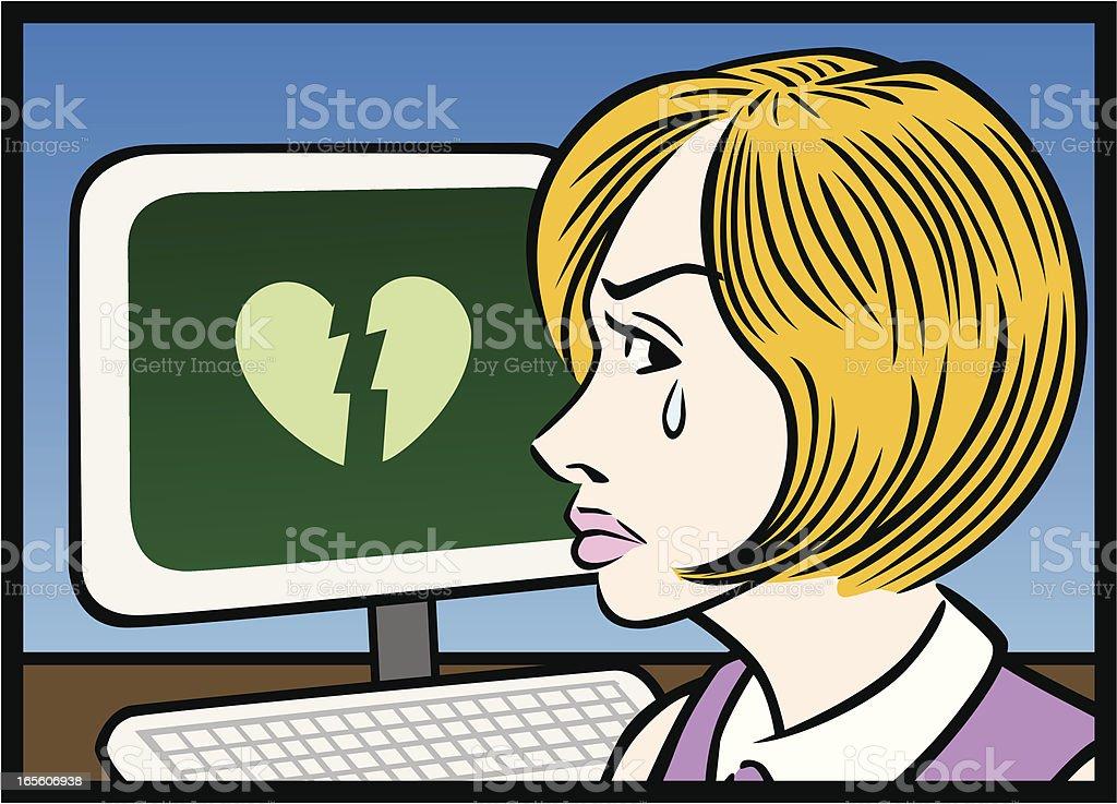 Broken Hearted At Computer vector art illustration