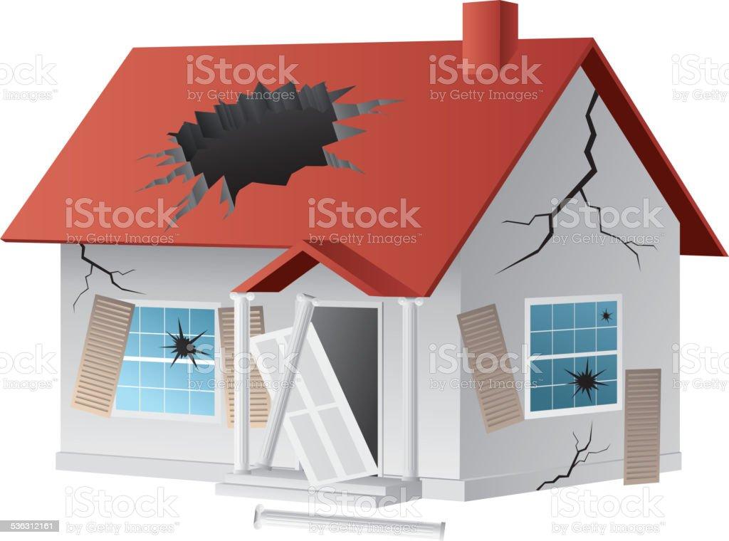Broken house vector art illustration