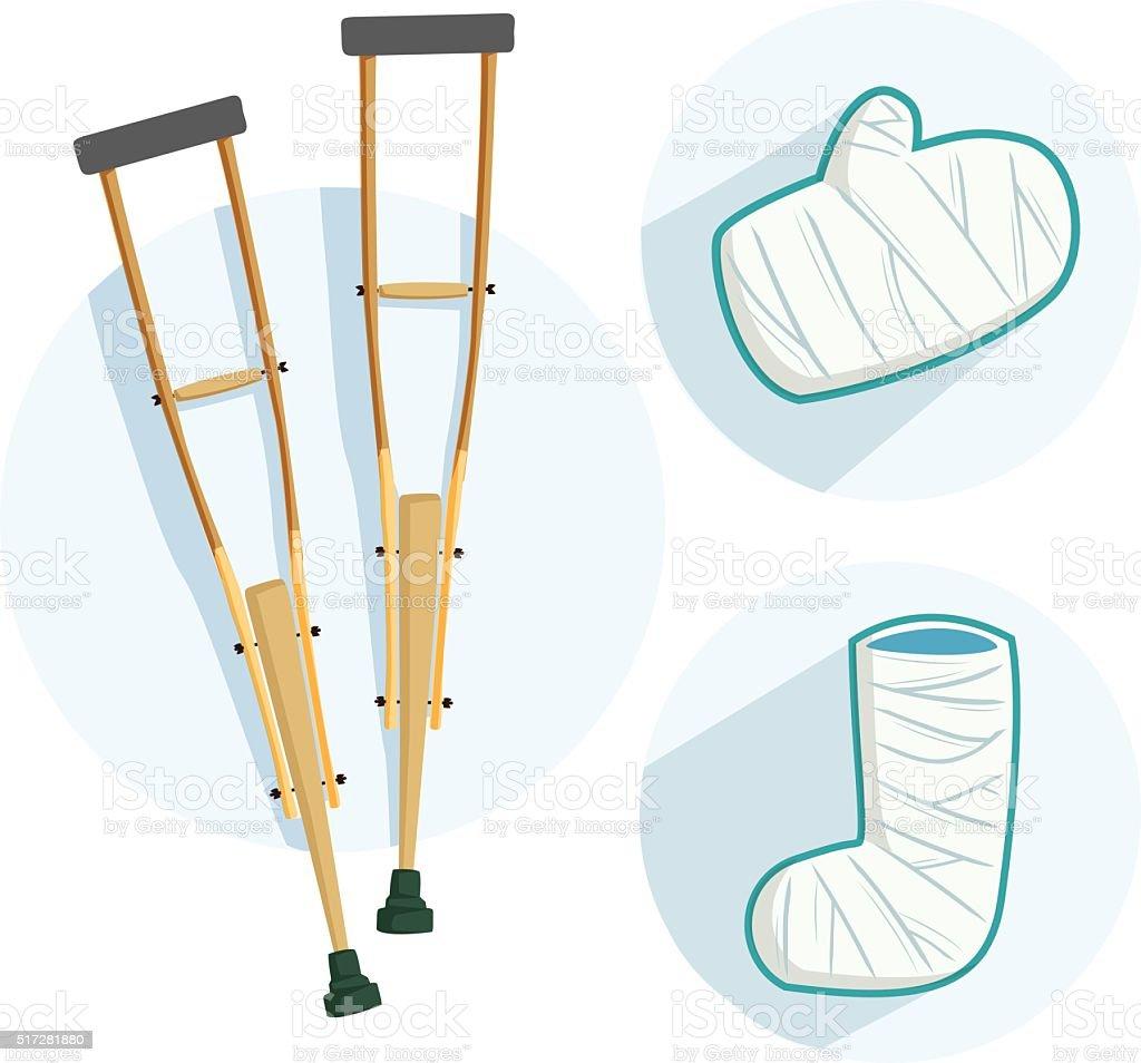 broken leg equipment vector art illustration