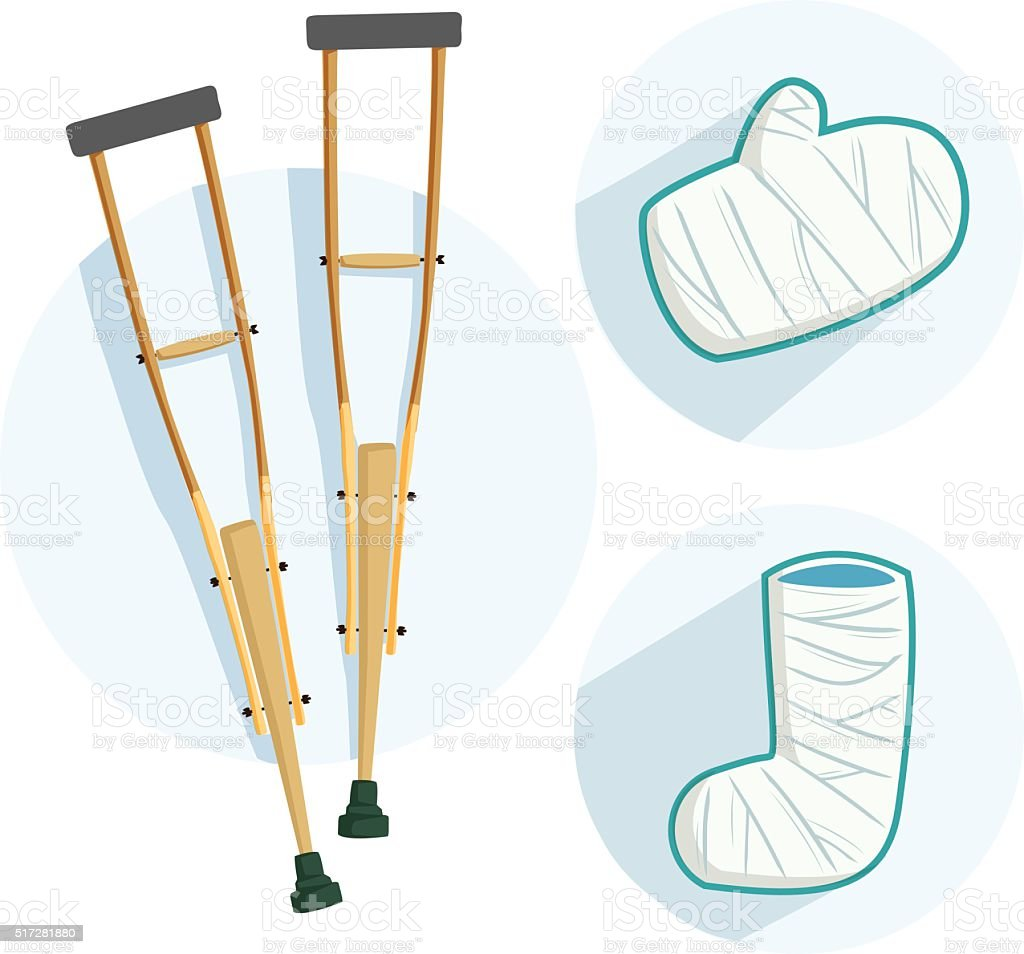 broken leg equipment vector art illustration