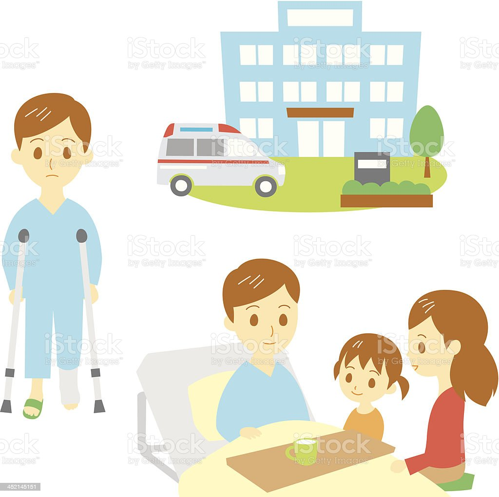 broken leg, injured man in hospital, family royalty-free stock vector art