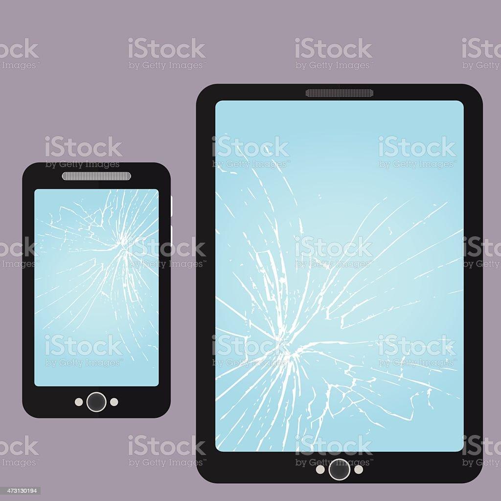 Broken Phone, Tablet-PC Screen Repair vector art illustration