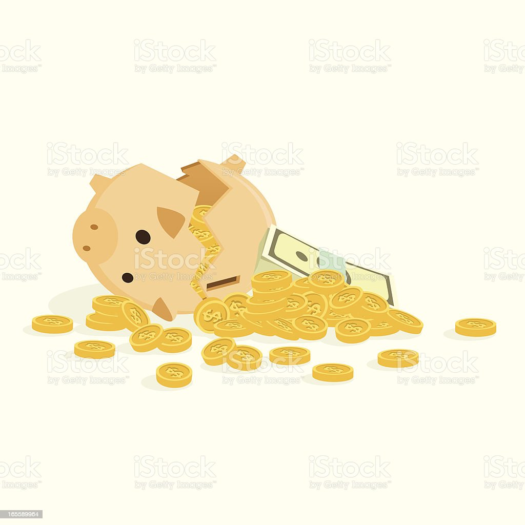 broken piggy bank royalty-free stock vector art