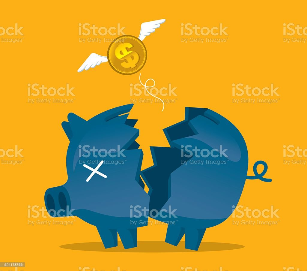 Broken piggy bank vector art illustration