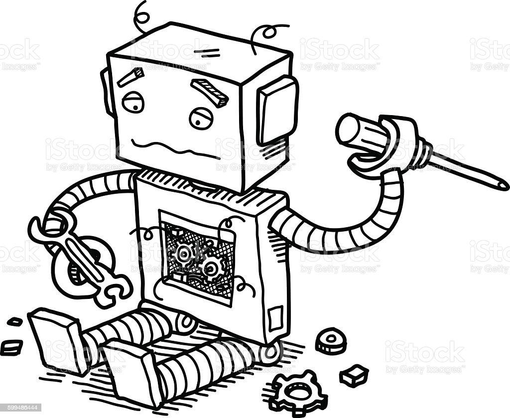 Broken Robot vector art illustration