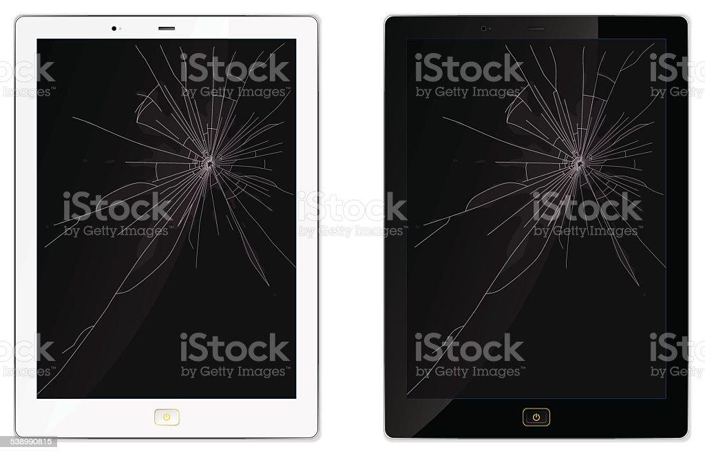 Broken Tablet vector art illustration