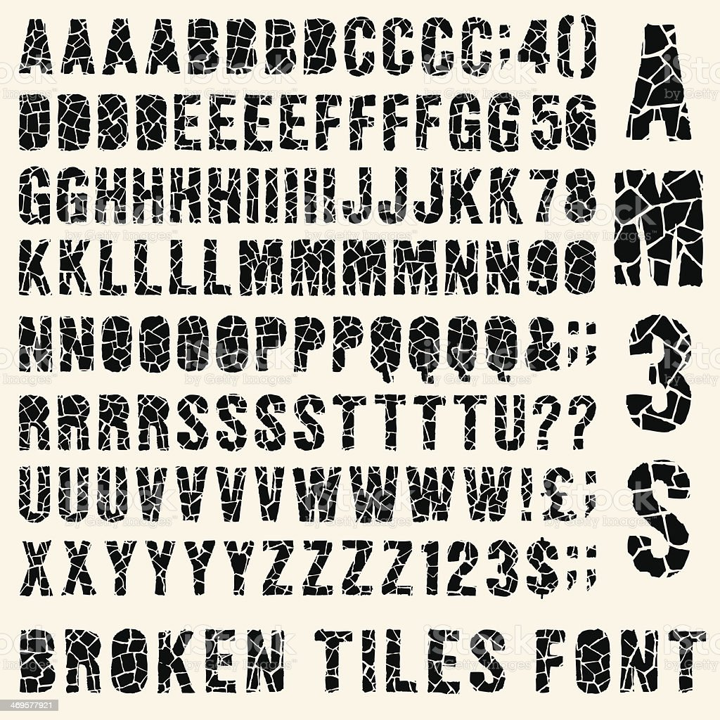 Broken tiles typeset vector art illustration