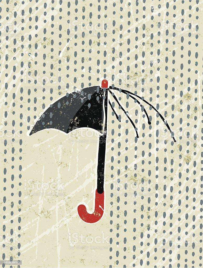 Broken umbrella and rain vector art illustration