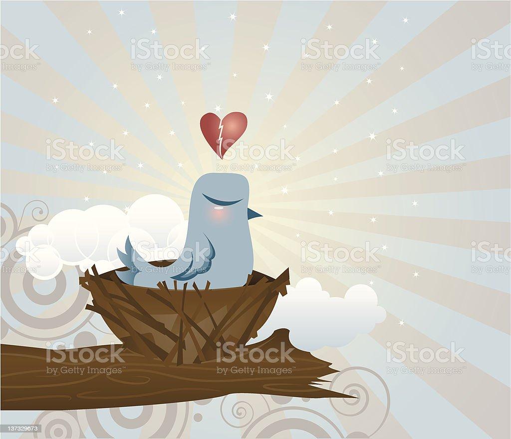 Brokenhearted Bluebird royalty-free stock vector art