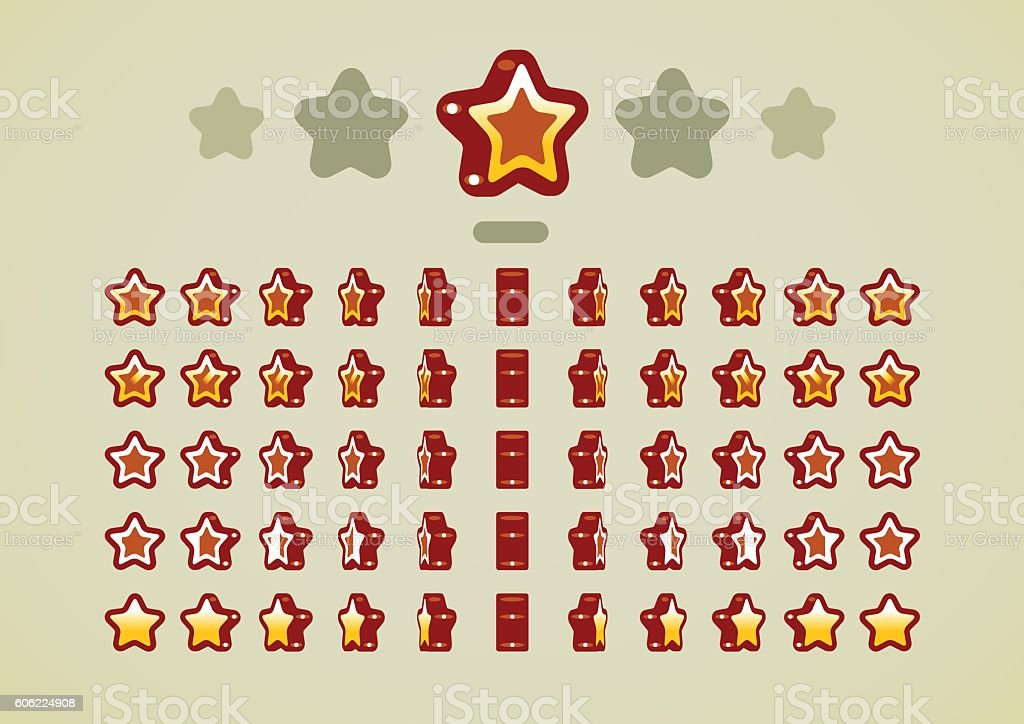 Bronze animated stars for video games vector art illustration