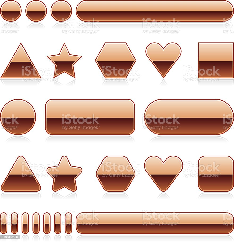 Bronze blank button empty glossy icon shadow reflection royalty-free stock vector art
