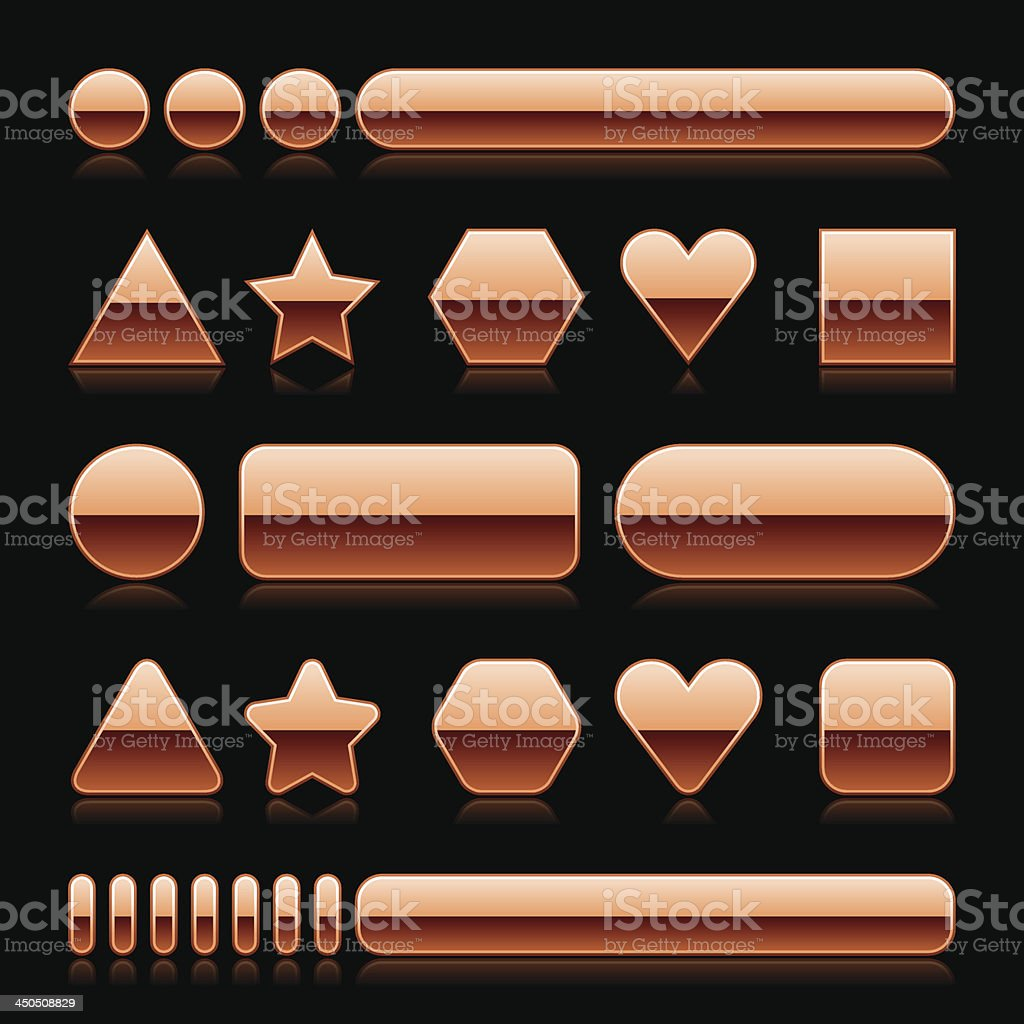 Bronze empty glossy icon blank internet button royalty-free stock vector art