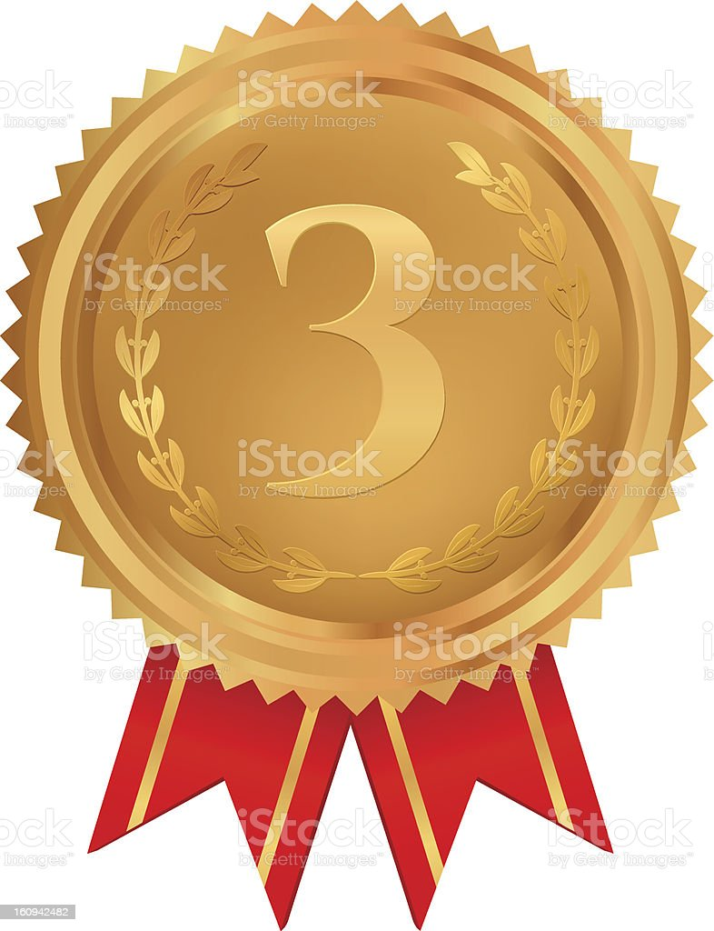 Bronze medal of Third place with red ribbons vector art illustration