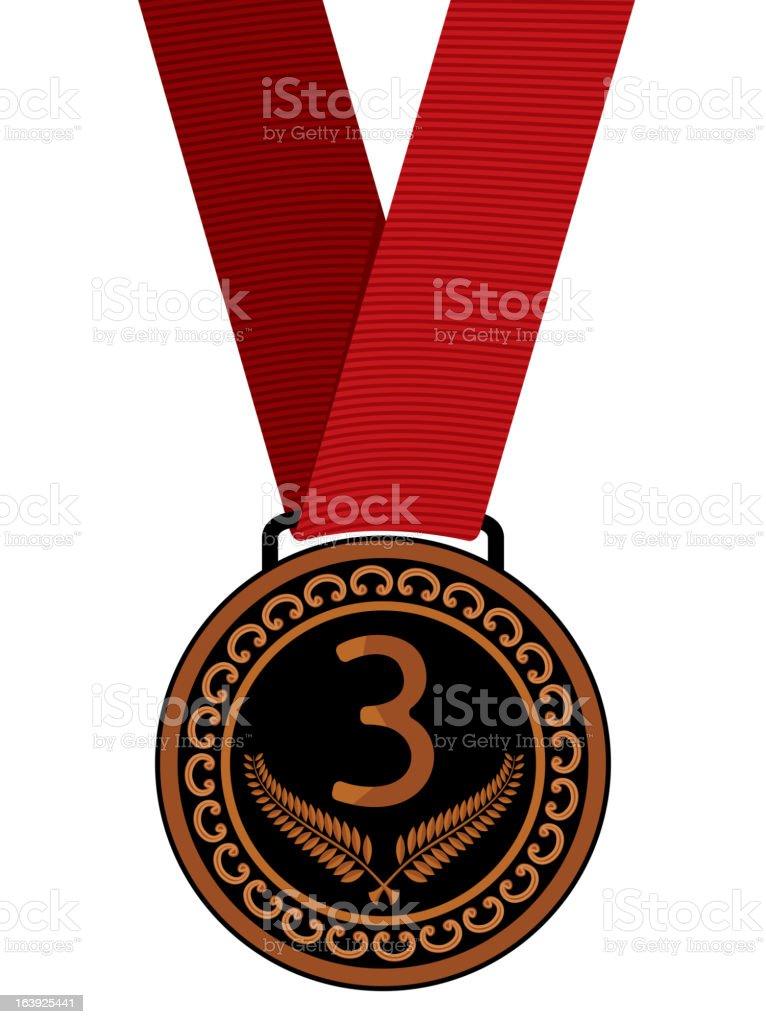 Bronze medal vector art illustration