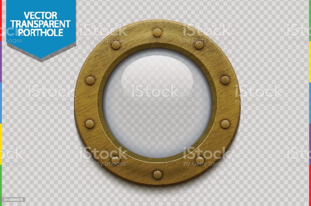 Bronze or brass ship porthole with glass vector art illustration