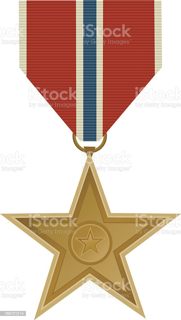 Bronze Star Military Medal vector art illustration