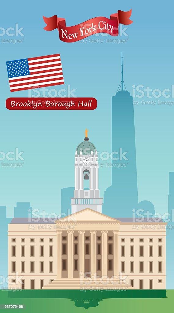 Brooklyn Borough Hall vector art illustration