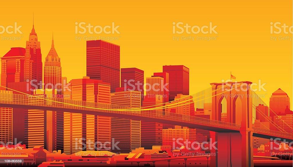 Brooklyn Bridge and Manhattan, New York City. vector art illustration