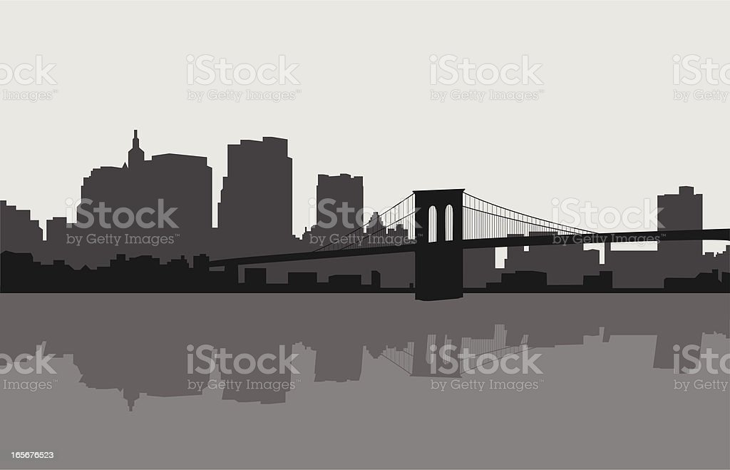 Brooklyn Bridge and New York Skyline vector art illustration