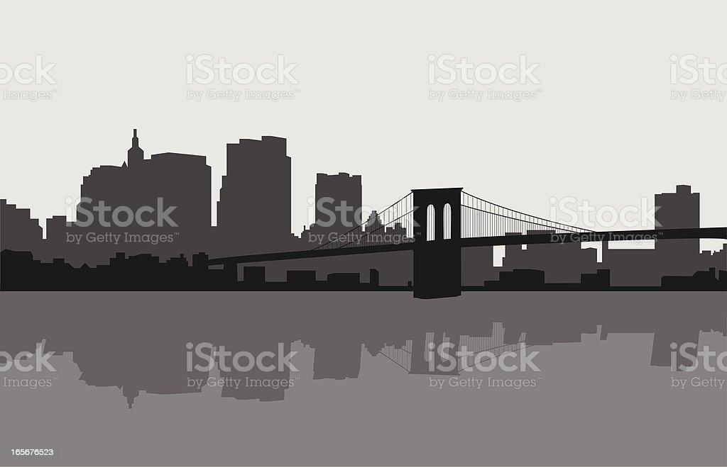 Brooklyn Bridge and New York Skyline vector art illustration