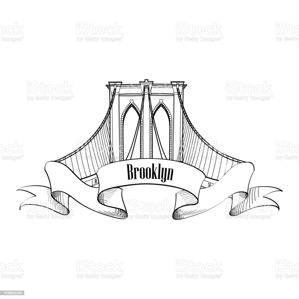 Brooklyn Bridge arch label. Architectural symbol of New York district vector art illustration