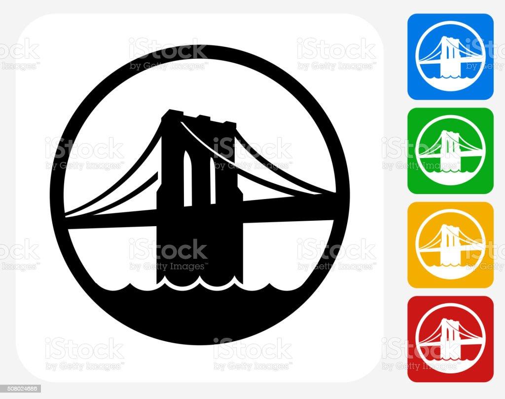 Brooklyn Bridge Icon Flat Graphic Design vector art illustration