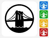 Brooklyn Bridge Icon Flat Graphic Design