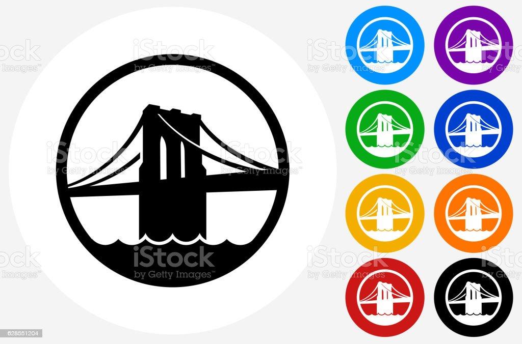 Brooklyn Bridge Icon on Flat Color Circle Buttons vector art illustration