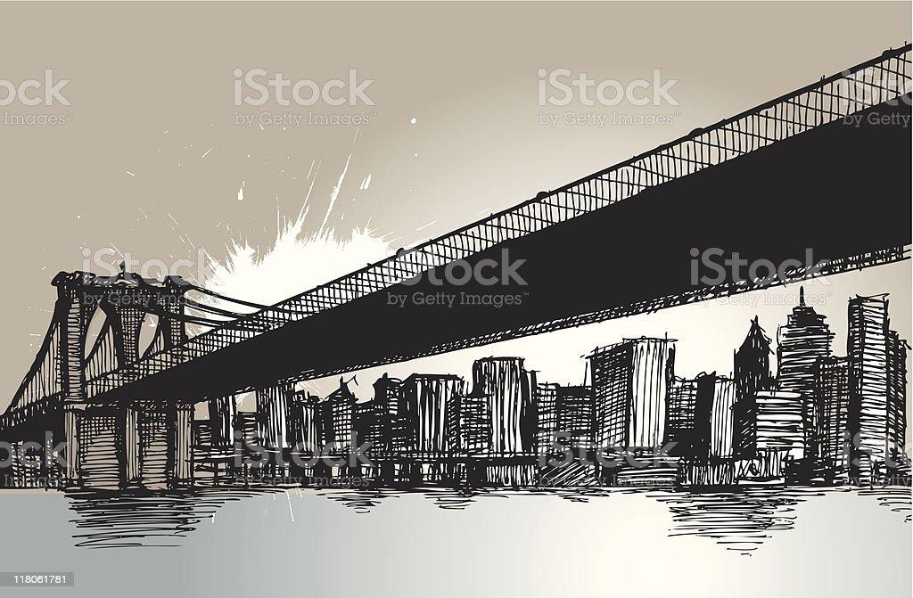 Brooklyn Bridge.. New York City.. vector art illustration