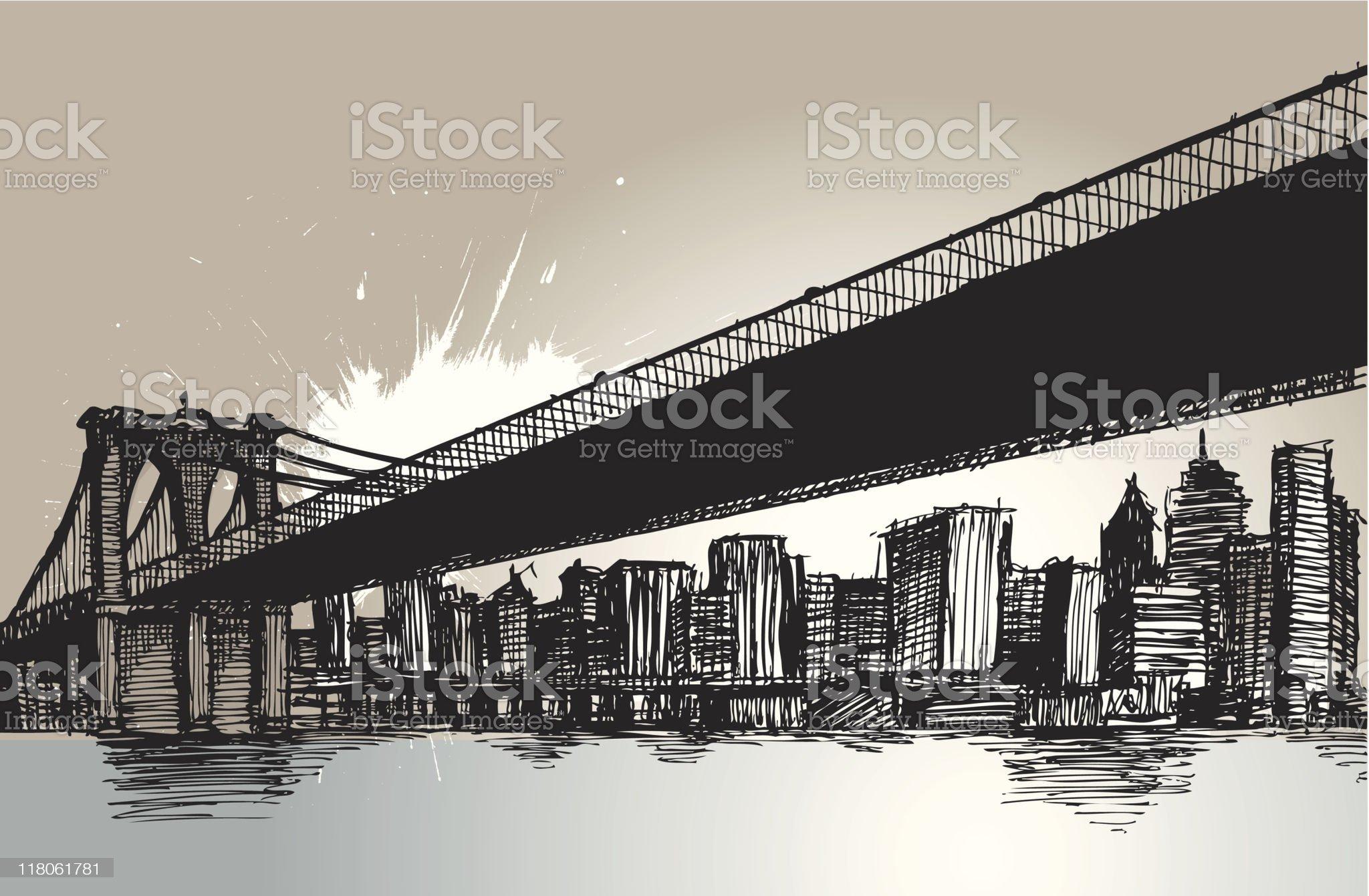 Brooklyn Bridge.. New York City.. royalty-free stock vector art