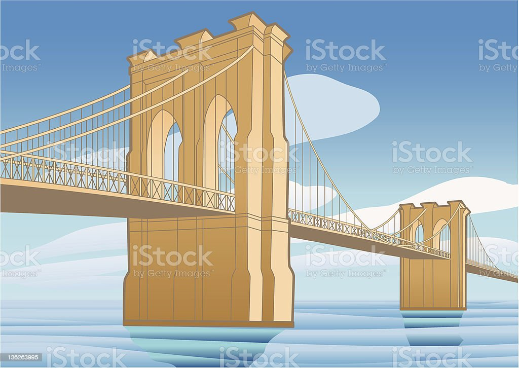 Brooklyn Bridge, New York City vector art illustration