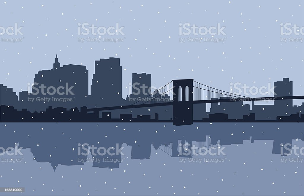 Brooklyn Bridge Snow vector art illustration