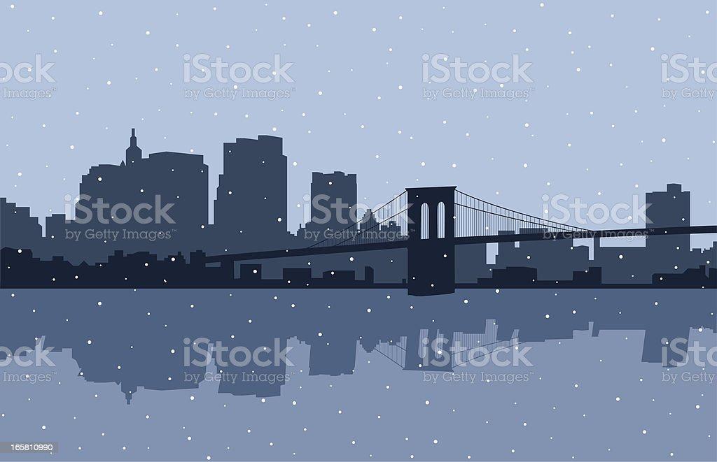 Brooklyn Bridge Snow vector art illustration