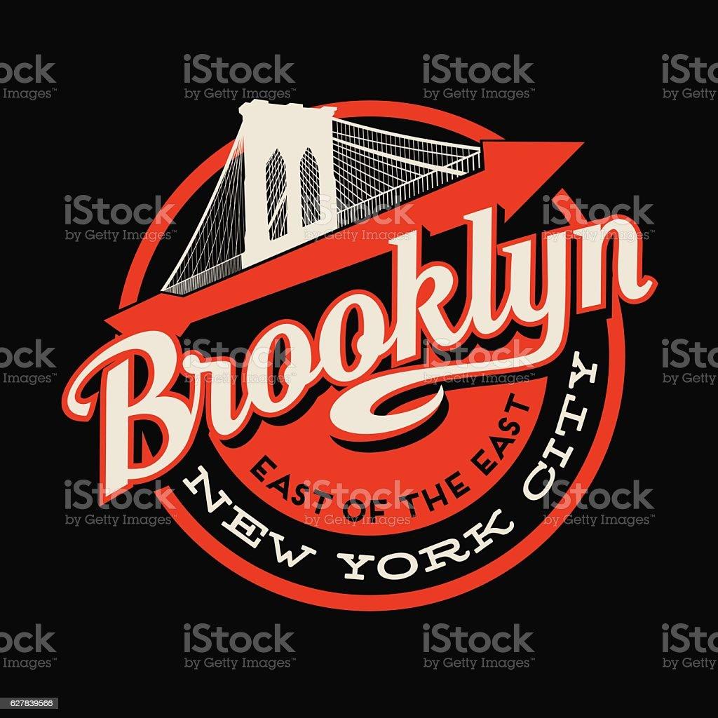 Brooklyn, New York City t-shirt or print typography design. vector art illustration