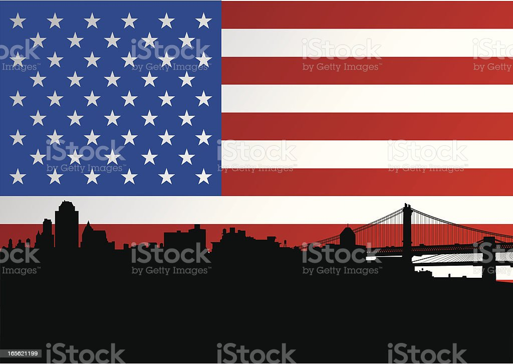 Brooklyn Skyline + American Flag vector art illustration
