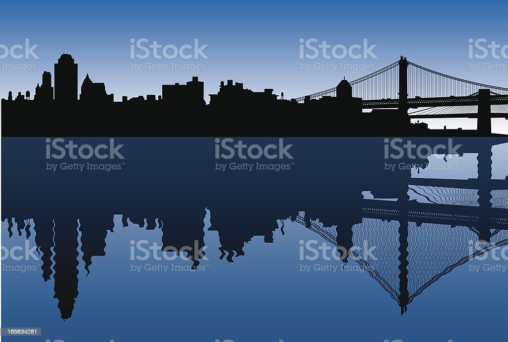 Brooklyn Skyline + Reflection vector art illustration
