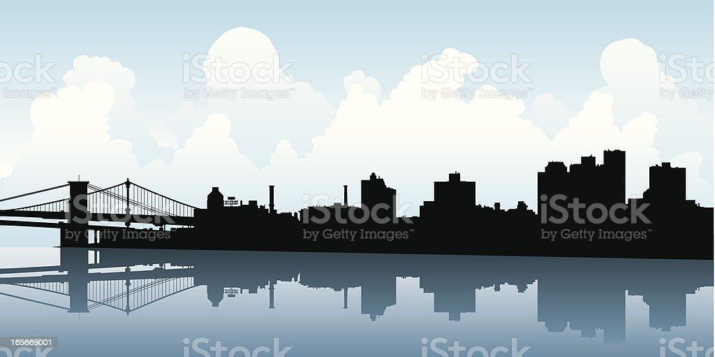 Brooklyn Skyline Silhouette vector art illustration