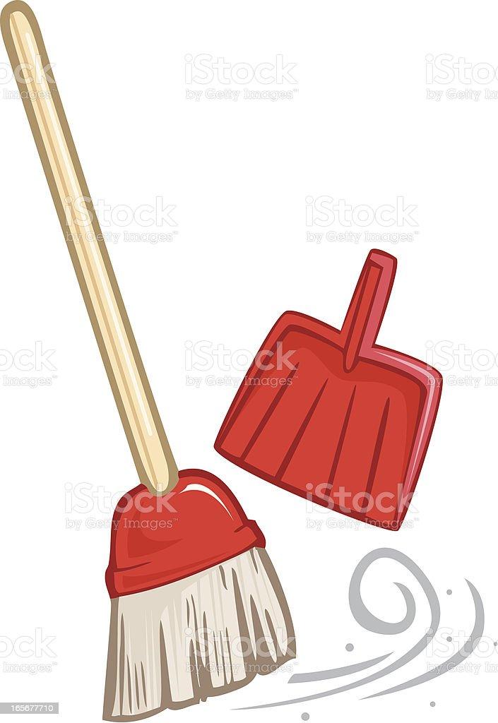 Broom and Dustpan vector art illustration
