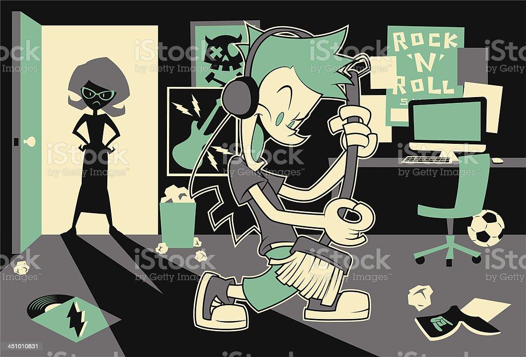 Broom Guitarist vector art illustration